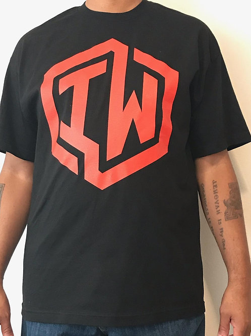 IWHIN Tee, Black With Red IW Logo