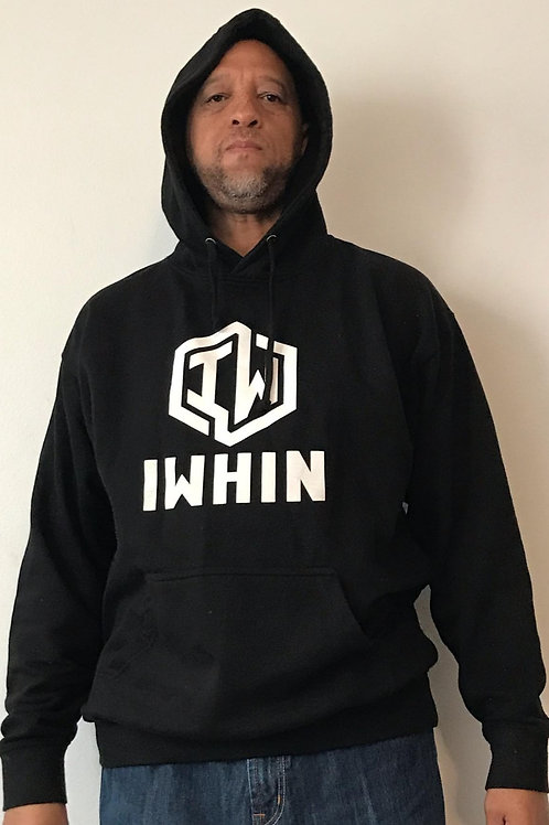 IWHIN Hoodie, Black With White Logo