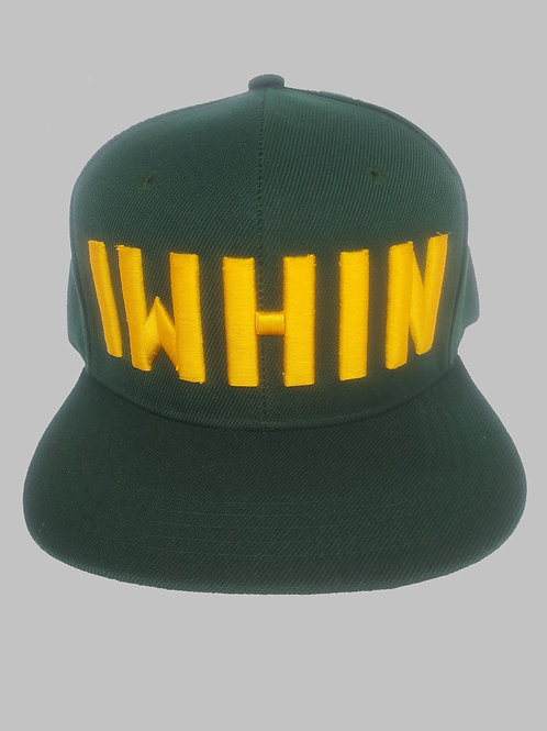 Green Snapback Hat With Yellow IWHIN Text Logo