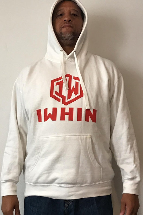 IWHIN Hoodie, White With Red Logo
