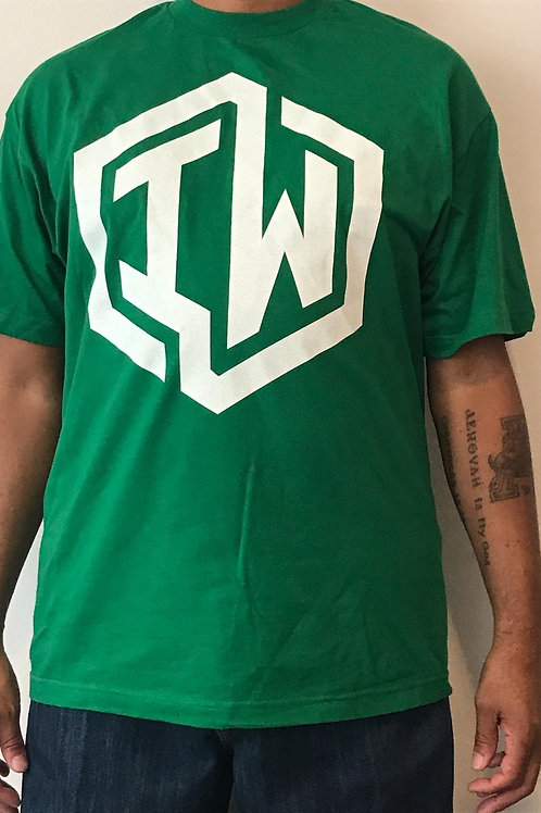 IWHIN Tee, Green With White IW Logo