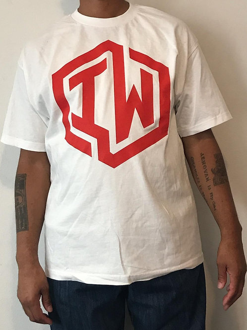 IWHIN Tee, White With Red IW Logo