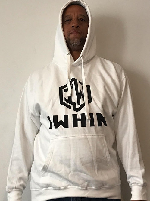 IWHIN Hoodie, White With Black Logo