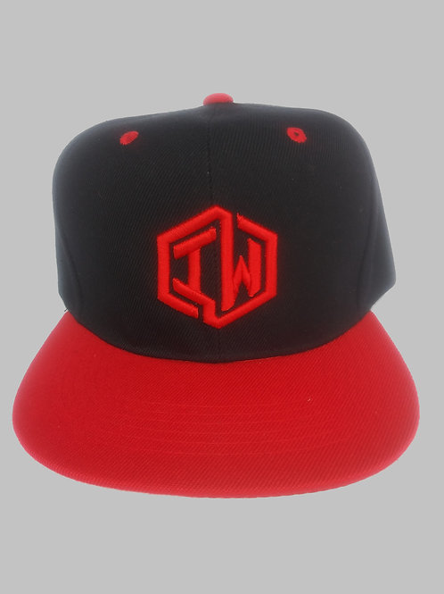 Black and Red Snapback Hat With IW Logo