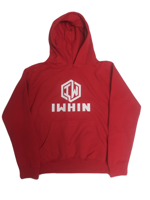 IWHIN Red Kids Hoodie With White Logo