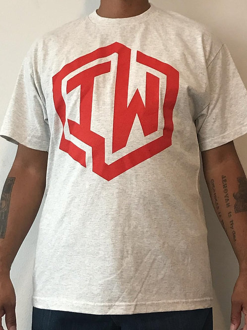 IWHIN Tee, Light Grey With Red IW Logo