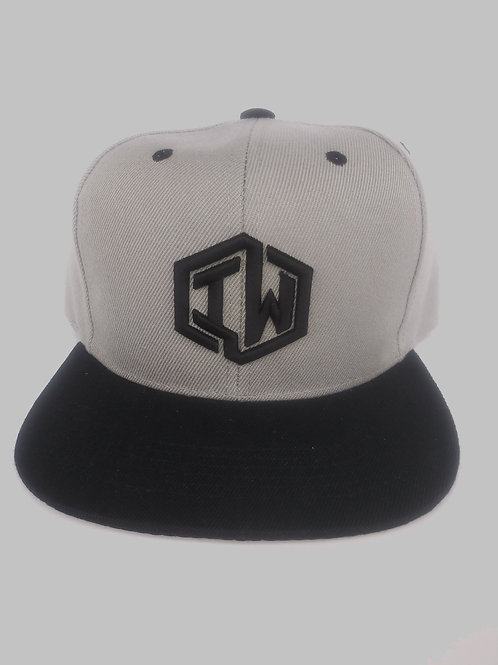 Grey and Black Snapback Hat With IW Logo