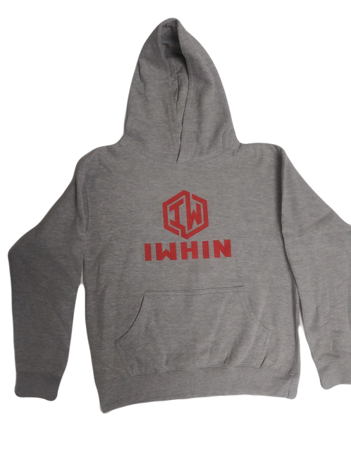 IWHIN Light Grey Kids Hoodie With Red Logo