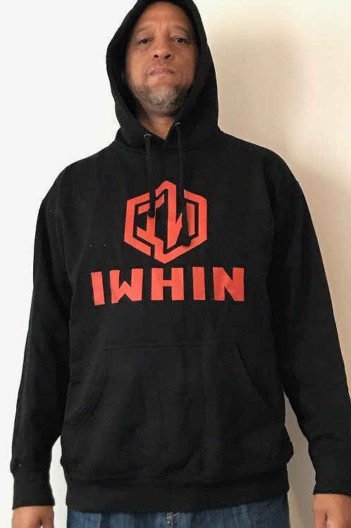 IWHIN Hoodie, Black With Red Logo