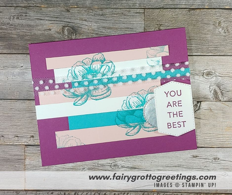 Image of handmade card keeper using Stampin' Up! Products.  Features a sneak peak at the new Tasteful Touches stamp set and Tasteful Labels dies. Done in Rich Razzleberry, Bermuda Bay and Blushing Bride colors.