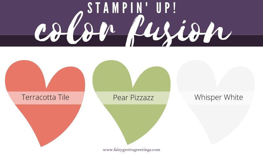 Stampin' Up! Color Fusion inspiration in erracotta Tile, Pear Pizzazz, Basic Black and Whisper White.