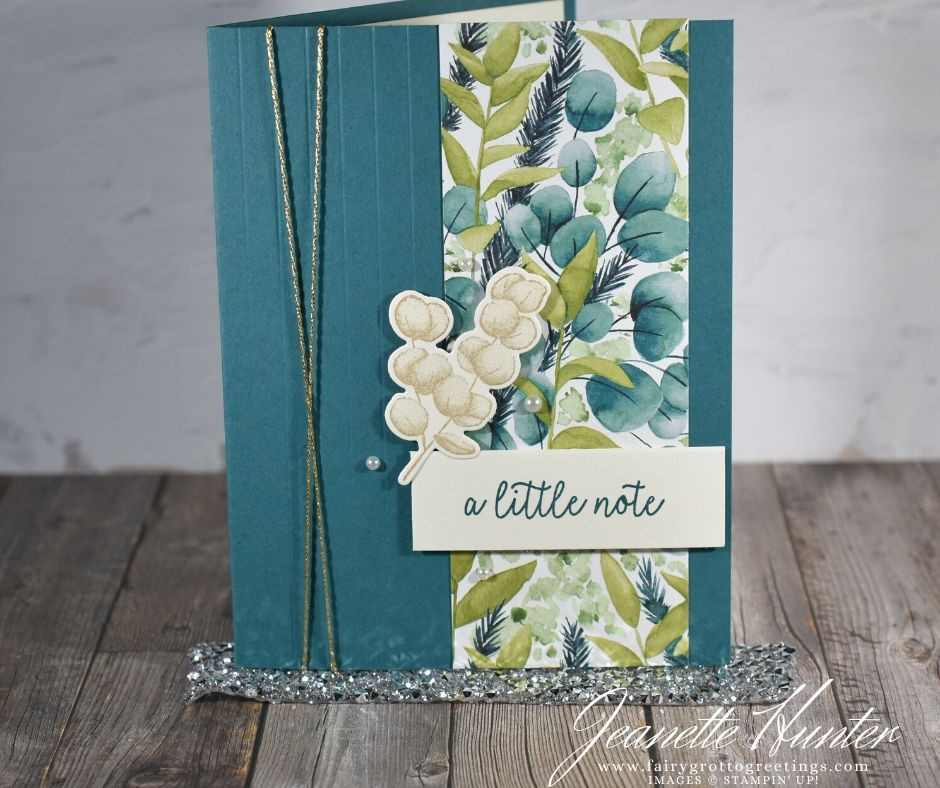 Image of handmade card using Stampin' Up! products.  Features the Butterfly Gala stamp set and Forever Fern stamp and die bundle. Done in Pretty Peacock, Pear Pizzazz and Sahara Sand colors.