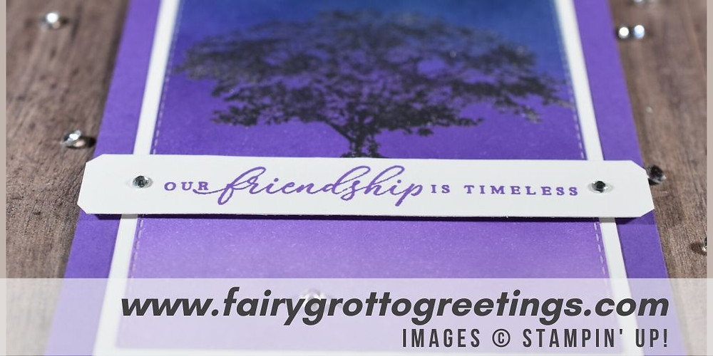 Image of handmade card using Stampin' Up! Products.  Features Rooted in Nature stamp set and Stitched Rectangle dies. Done in Night of Navy, Gorgeous Grape and Highland  Heather colors.
