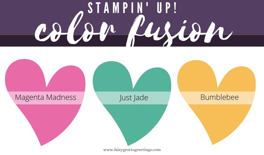 Stampin' Up! Color Fusion inspiration in Magenta Madness, Just Jade and Bumblebee.