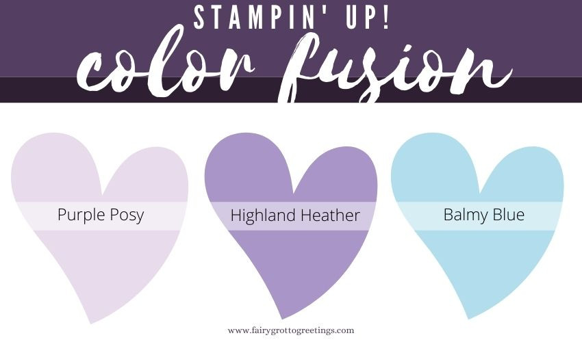 Stampin' Up Color Fusion in Purple Posy, Highland Heather and Balmy Blue