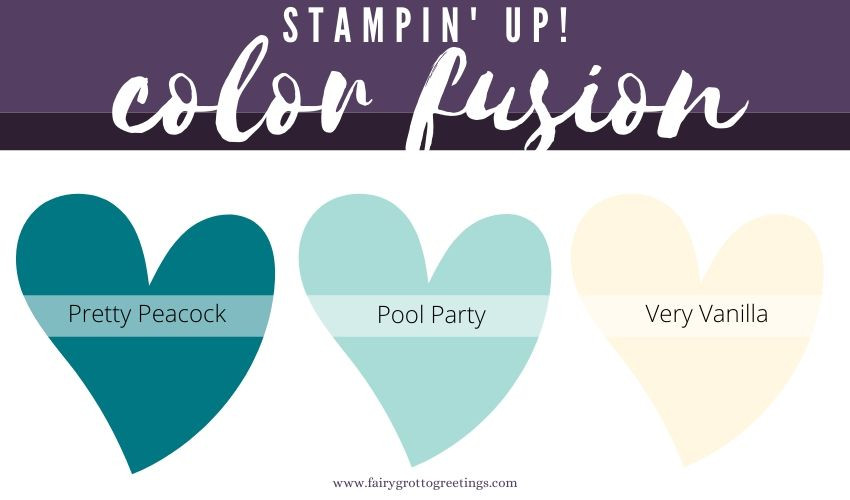 Stampin' Up! Color Fusion inspiration in Pretty Peacock, Pool Party and Very Vanilla.