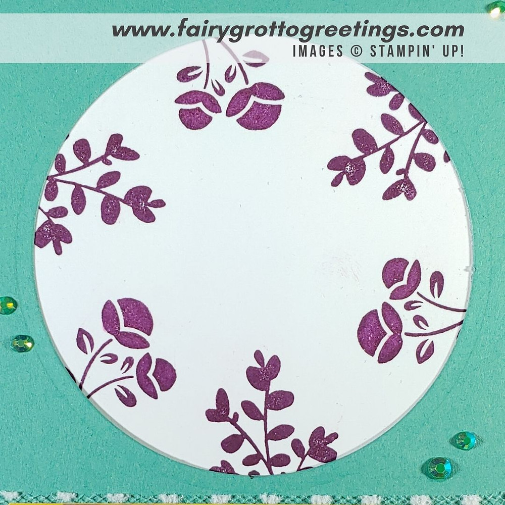 Image of handmade card using Stampin' Up! Products.  Features the Lovely You stamp set and Lovely Labels punch. Done in Blackberry Bliss, Just Jade and Bumblebee colors.
