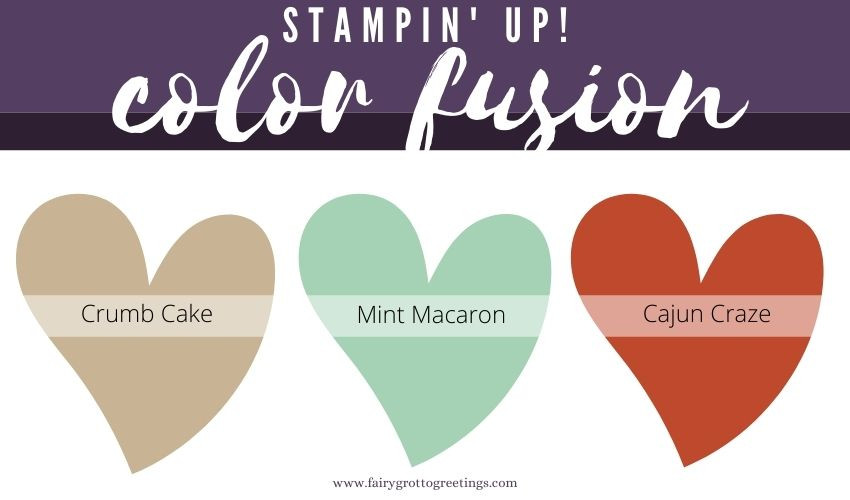 Stampin' Up! Color Fusion inspiration in Crumb Cake, Mint Macaron and Cajun Craze colors.