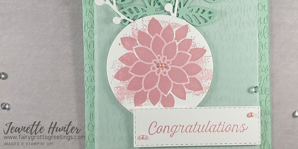 Image of card front using flourishing phrases stamp set in mint macaron and rococo rose