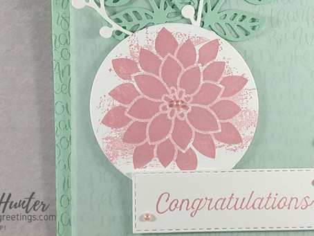 Mint Macaron & Rococo Rose Congratulations Card