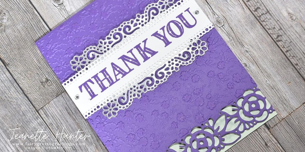 Image of handmade card using Stampin' Up! products.  Features the Ornate Garden Suite. Done in Gorgeous Grape, Soft Sea Foam and silver foil sheets.