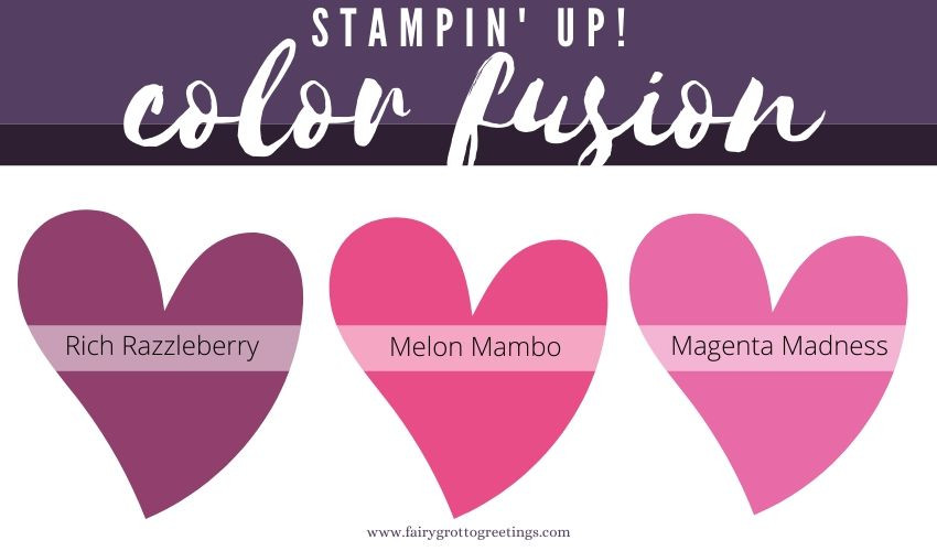 Stampin' Up! Color Fusion inspiration in Rich Razzleberry, Magenta Madness and Melon Mambo.
