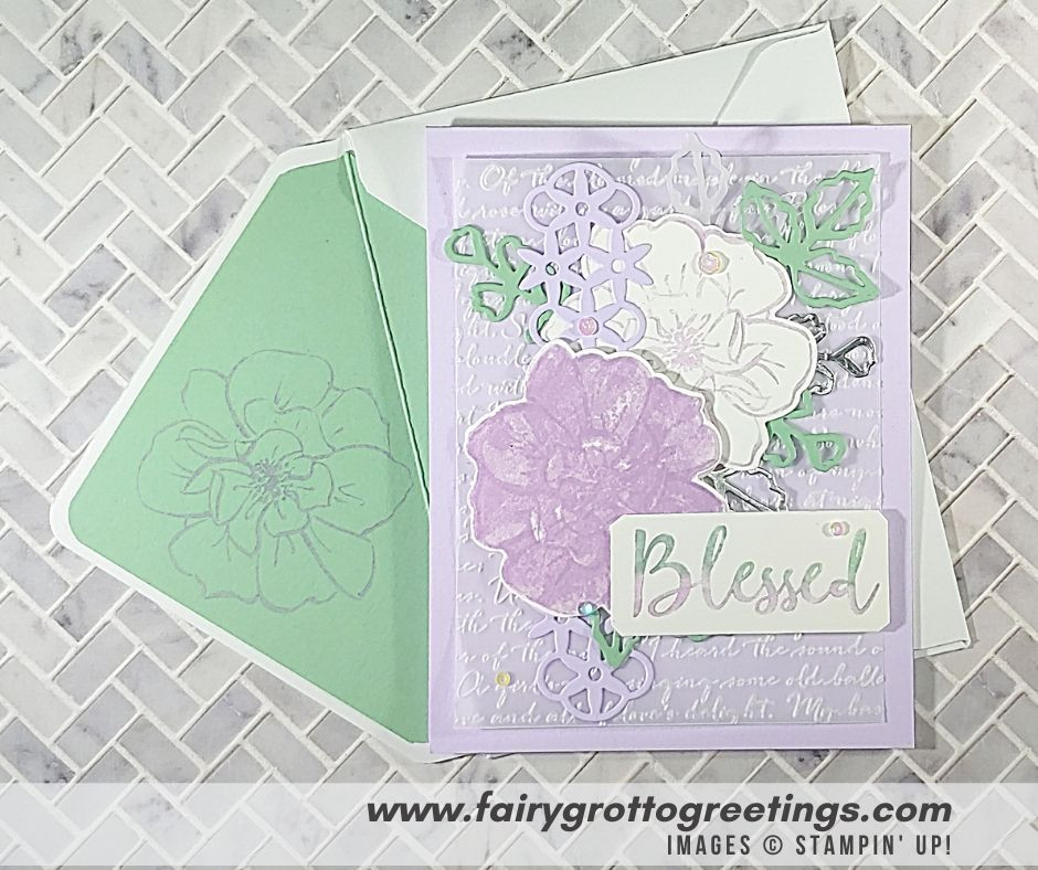 Image of handmade card keeper using Stampin' Up! Products.  Features the To A Wild Rose stamp set and Wild Rose matching dies. Done in Purple Posy, Mint Macaron, Vellum and Silver Foil colors.