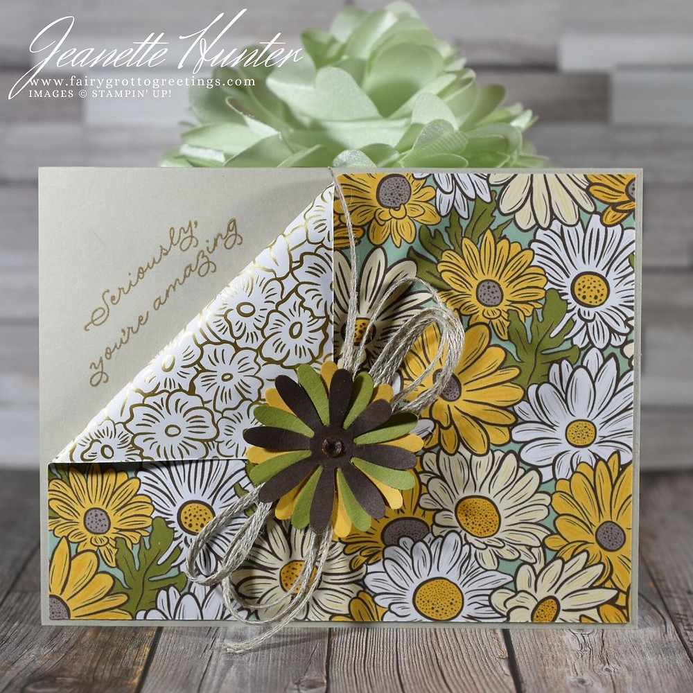 Image of handmade card made using Stampin' Up! Products.  Features products in the Ornate Garden Suite Collection, the medium daisy punch which coordinates beautifully and done in Early Espresso, Sahara Sand, Bumblebee and Old Olive colors.