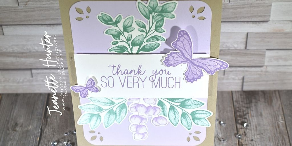 Image of handmade card using Stampin' Up! products.  Features the Forever Fern bundle and Butterfly Gala stamp set with matching Butterfly Duet punch. Done in Just Jade, Highland Heather and Purple Posy colors.