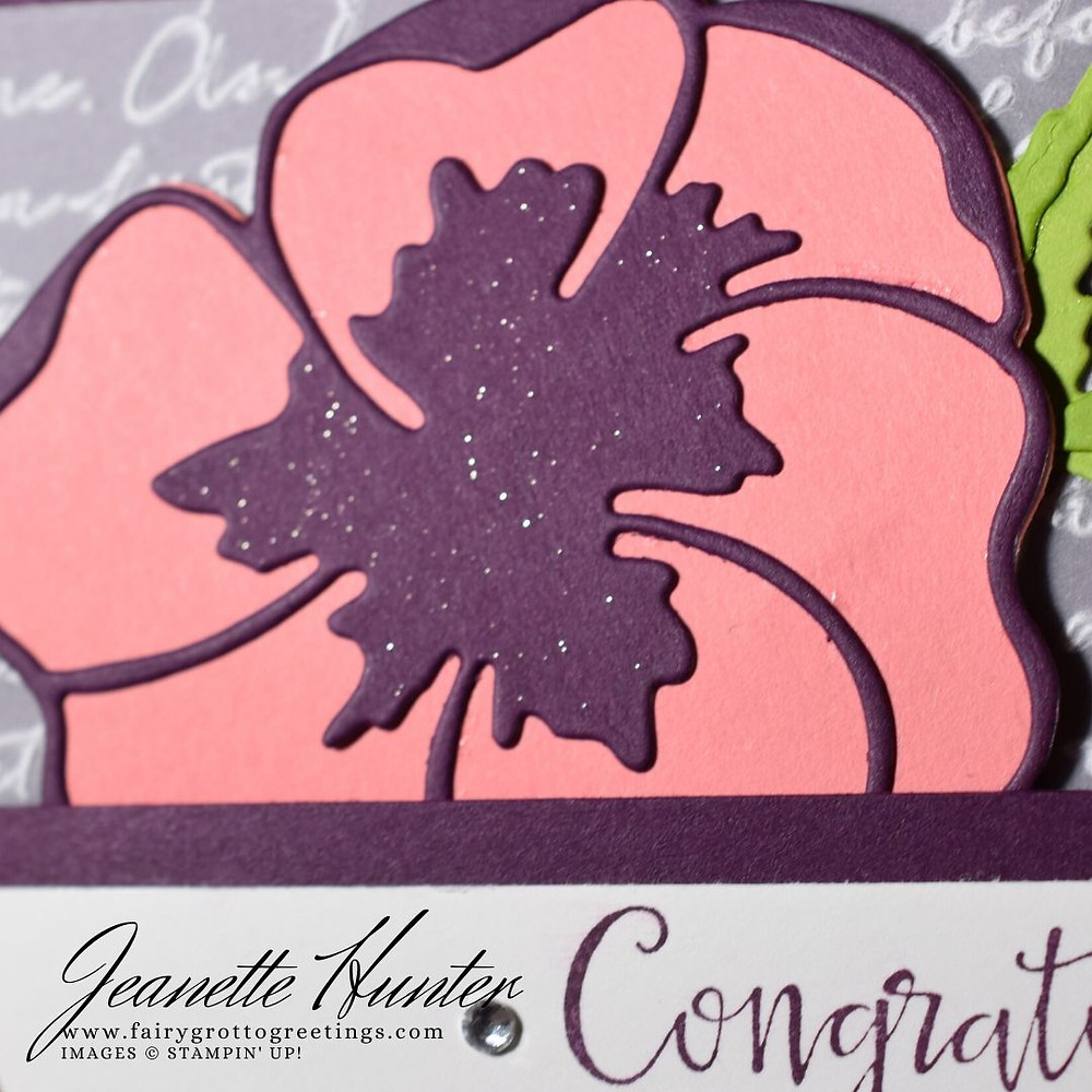 Image of handmade card using Stampin' Up! products.  Features the Peaceful Moments bundle. Done in Blackberry Bliss, Flirty Flamingo and Granny Apply Green colors.