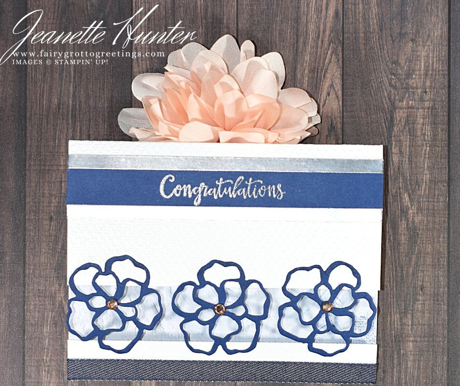 Handmade card using Stampin Up! products.  The products used were the Peaceful Moments stamp set, Wild Rose dies and Tasteful Textiles 3D embossing folder.  The colors were Misty Moonlight, Night of Navy and Silver foil.