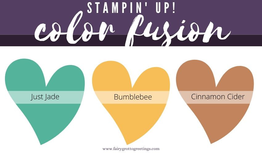 Stampin' Up! Color Fusion inspiration in Just Jade, Bumblebee and Cinnamon Cider.