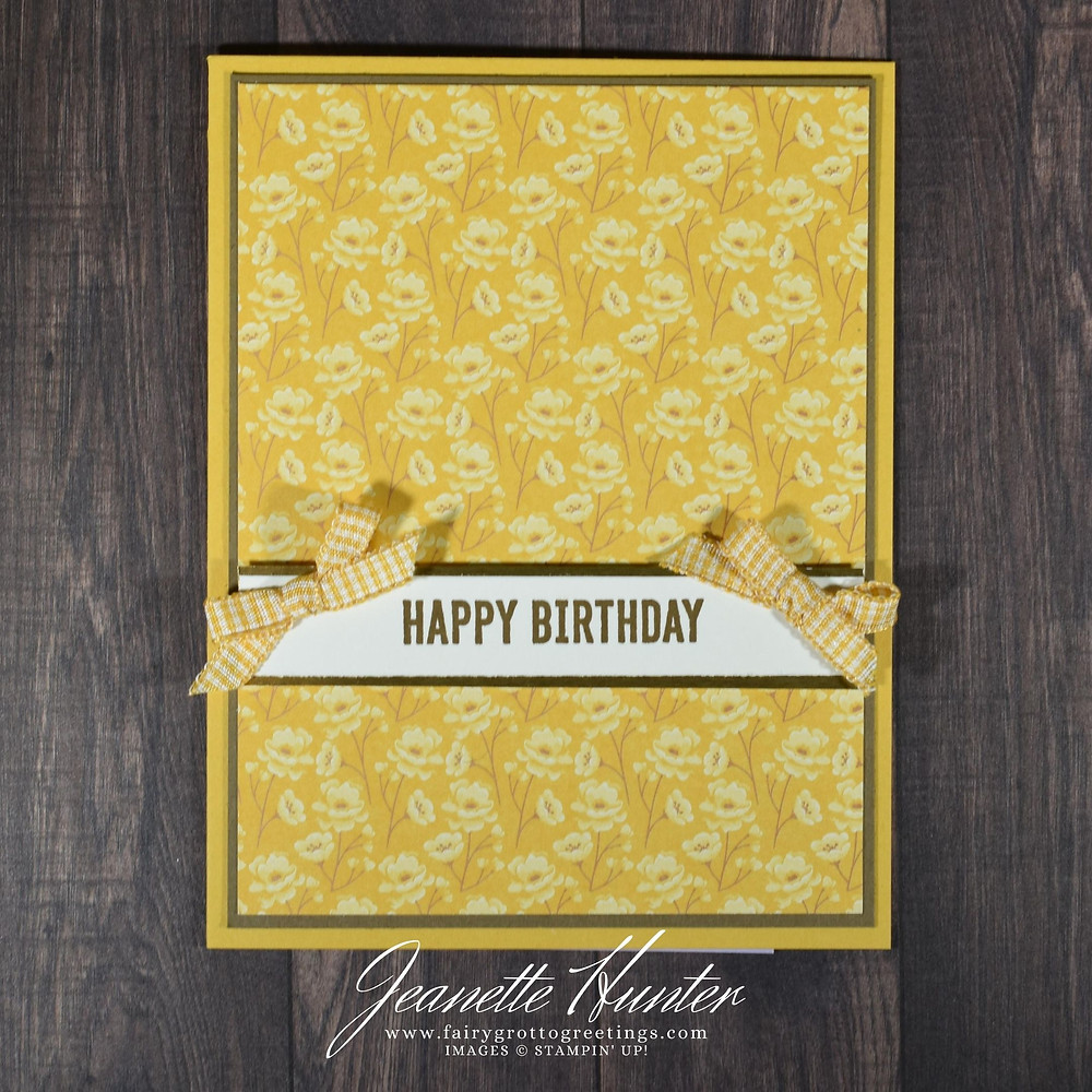 Image of handmade card using Stampin' Up! products.  Features the Itty Bitty Birthdays stamp set. Done in Soft Suede, Bumblebee and Very Vanilla.