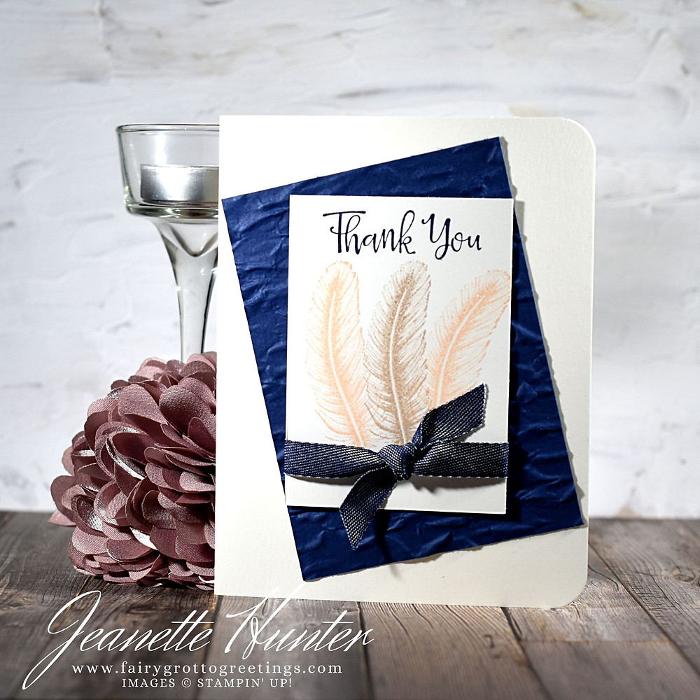 Image of handmade card using Stampin' Up! products.  Features the Peaceful Moments and Tasteful Touches stamp set. Done in Night of Navy, Petal Pink and Crumb Cake colors.