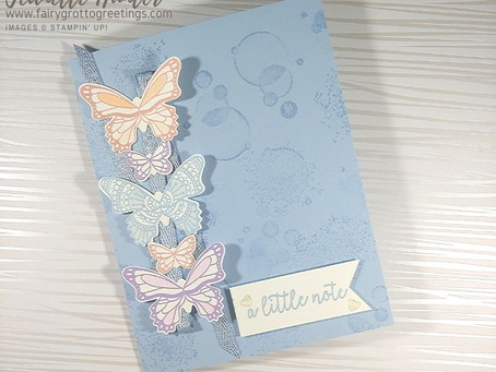 """Soft Pastel """"Just a Little Note"""" Card Using Butterfly Gala Stamp Set"""