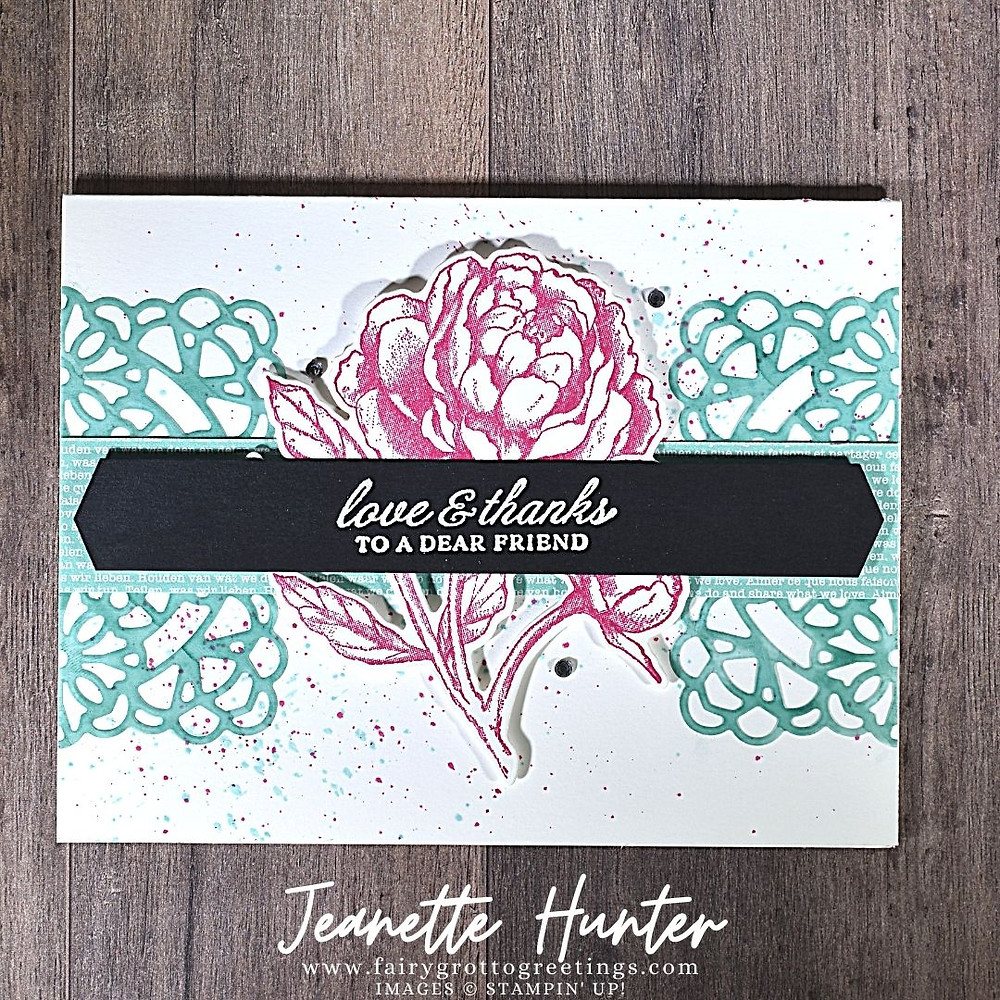 Image of handmade card using Stampin' Up! products.  Features the Prized Peony Bundle. Done in Basic Black, Bermuda Bay and Melon Mambo colors.