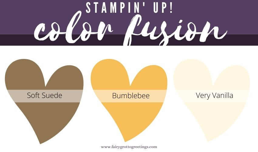 Stampin' Up! Color Fusion inspiration in Soft Suede, Bumblebee and Very Vanilla.