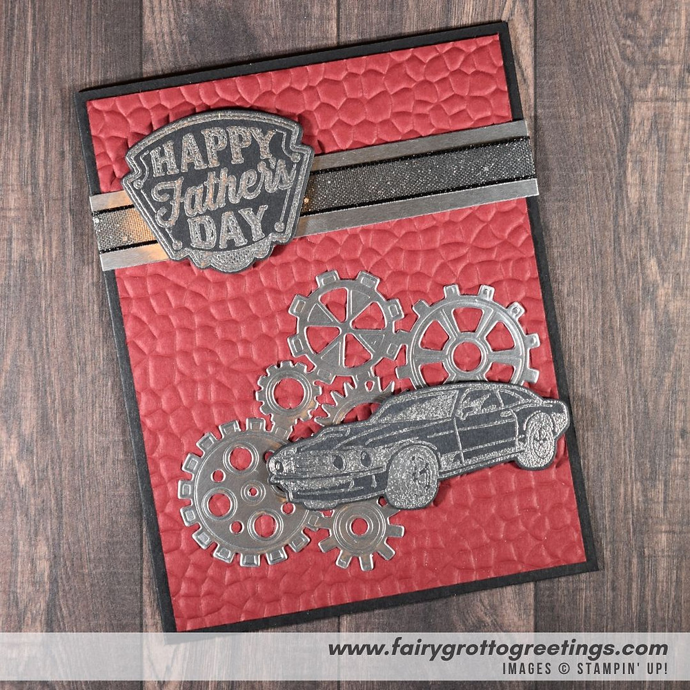 Image of handmade card using Stampin' Up! Products.  Features the Geared Up Garage stamp set and matching Garage Gears dies. Done in Cherry Cobbler, Basic Black and Silver Foil colors.