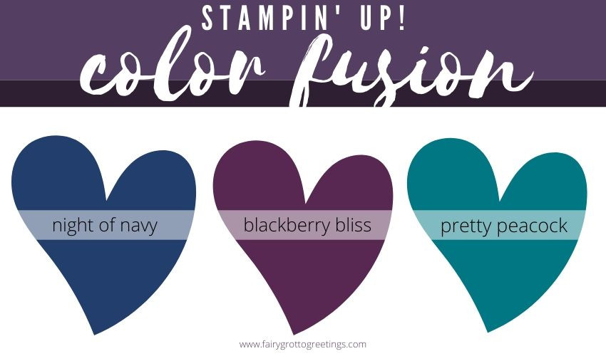 Stampin' Up! Color Fusion inspiration in Night of Navy, Blackberry Bliss and Pretty Peacock.