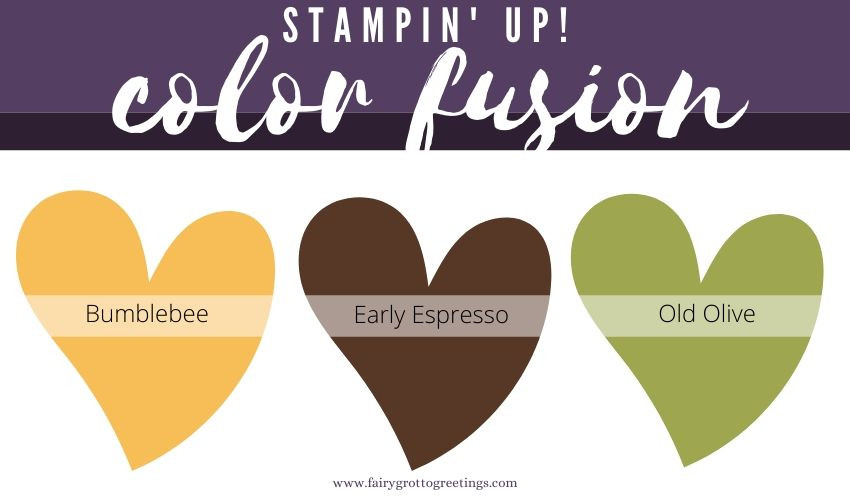 Stampin' Up! Color Fusion in Early Espresso, Bumblebee and Old Olive.