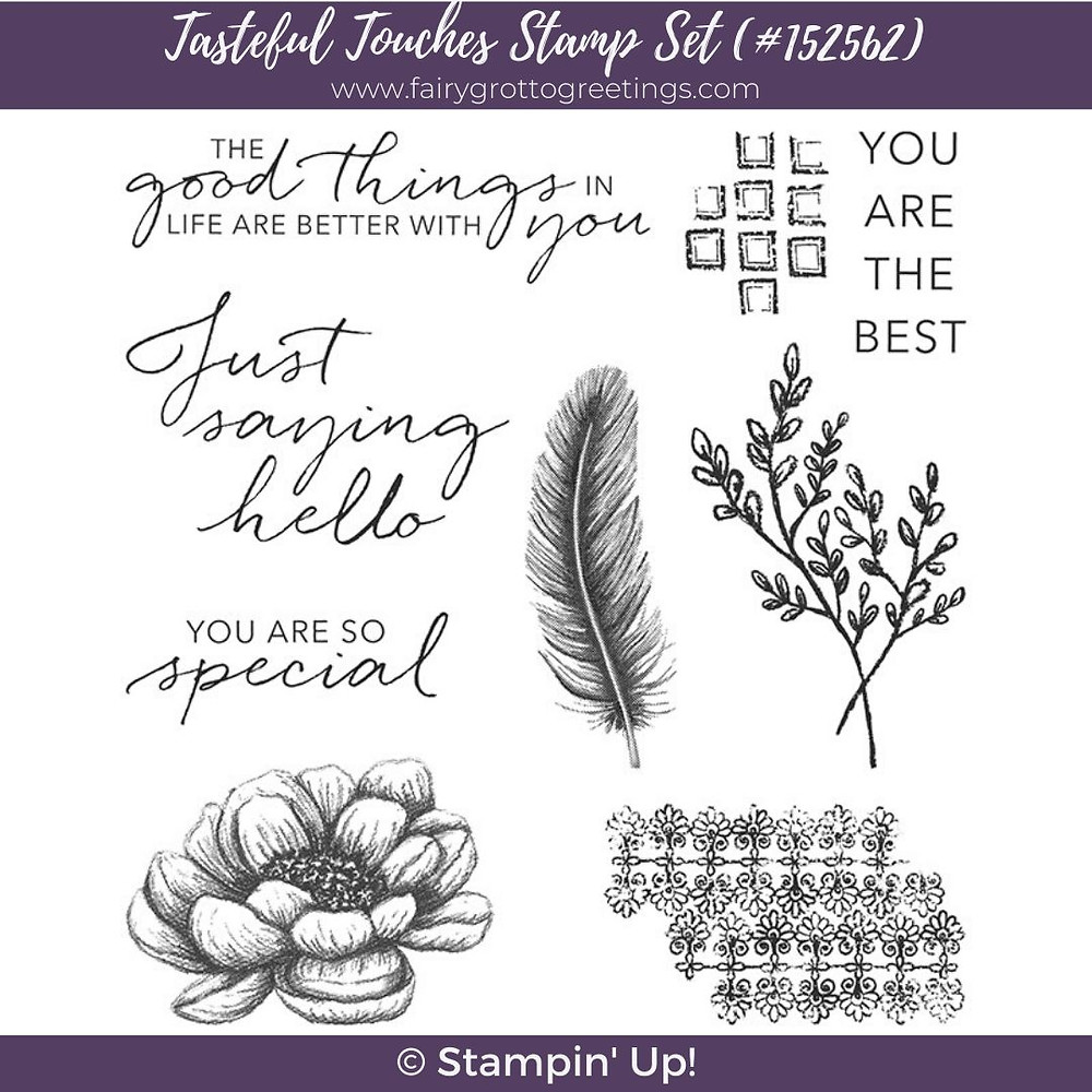 Sneak peak at the new Tasteful Touches stamp set coming from Stampin' Up! available June 3rd, 2020.