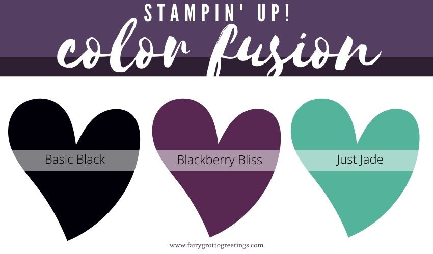 Stampin' Up! Color Fusion inspiration in Basic Black, Blackberry Bliss and Just Jade colors.