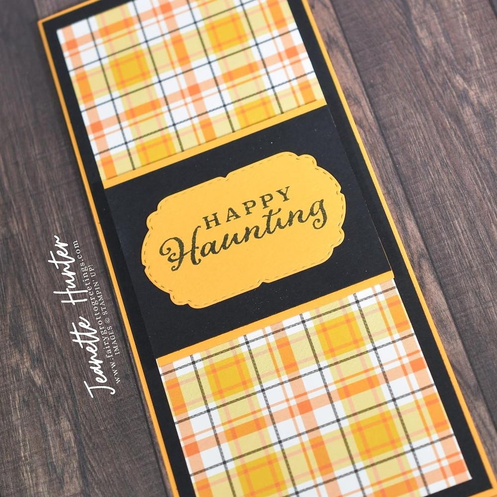 Image of handmade card using Stampin' Up! products.  Features the Plaid Tidings suite. Done in Basic Black, Mango Melody and Bumblebee colors.