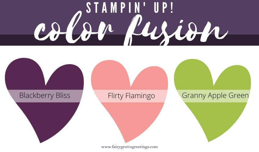 Stampin' Up! Color Fusion inspiration in Blackberry Bliss, Flirty Flamingo and Granny Apply Green.