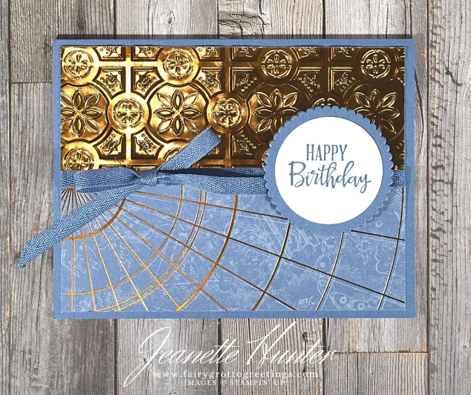 Image of handmade card using Stampin' Up! products.  Features the Peaceful Moments stamp set and Layering Circles dies. Done in Misty Moonlight and Brass (foil).