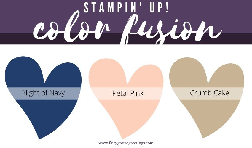 Stampin' Up! Color Fusion inspiration in Night of Navy, Petal Pink and Crumb Cake colors.