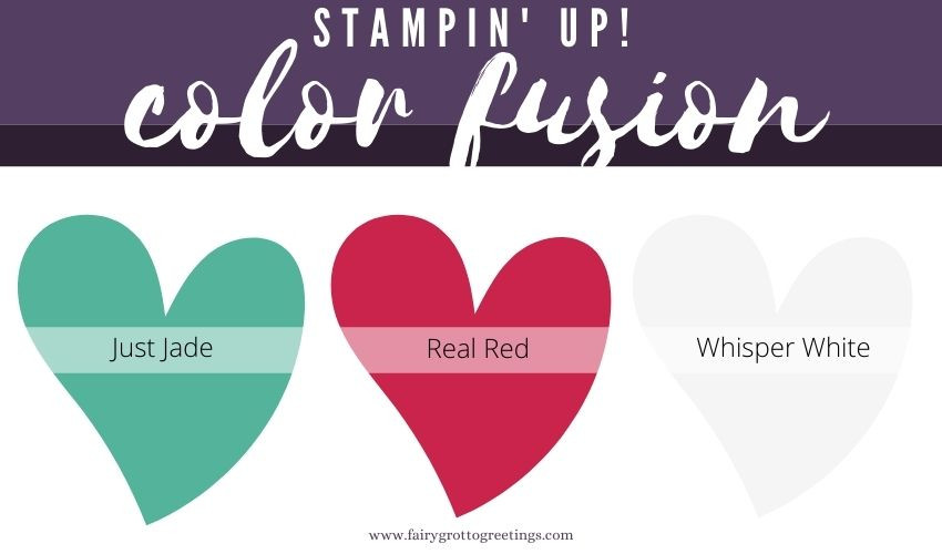 Stampin' Up! Color Fusion inspiration in Just Jade and Real Red colors.