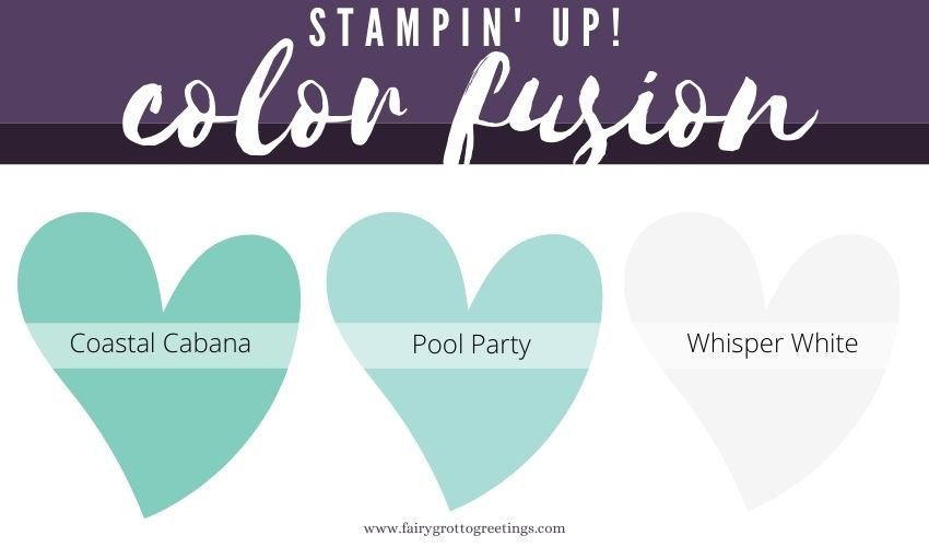 Stampin' Up! Color Fusion inspiration in Coastal Cabana, Pool Party and Whisper White colors.