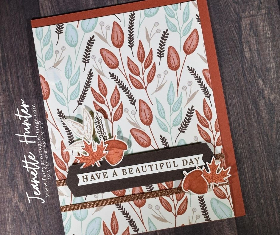 Image of handmade card using Stampin' Up! products.  Features the Gilded Autumn suite. Done in Early Espresso, Cajun Craze and Mint Macaron colors.