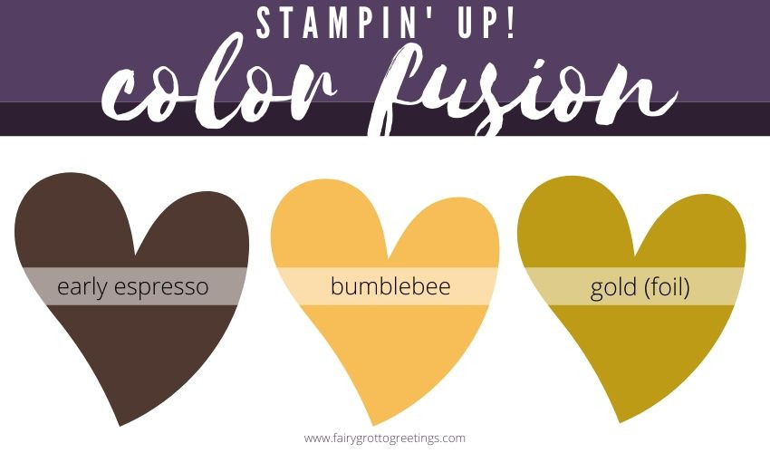 Stampin' Up! Color Fusion inspiration in Early Espresso, Bumblebee and Gold (foil).